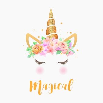 Cute unicorn graphic with flower wreath and gold glitter