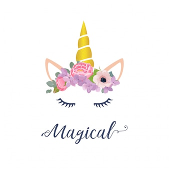 Cute Unicorn Graphic With Flower Wreath