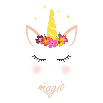 Cute unicorn graphic with flower