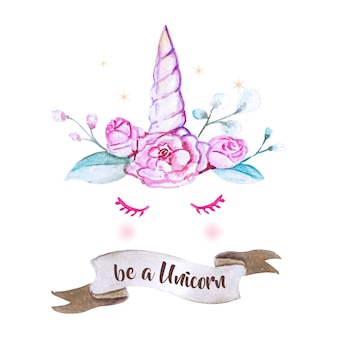 Cute unicorn graphic with watercolor style