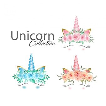 Cute unicorn graphics with watercolor flowers collection