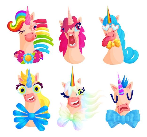 Cute unicorn grimaces cartoon illustrations set.