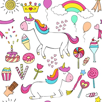 Cute unicorn hand drawn style cartoon pattern