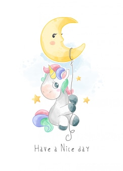 Cute unicorn hanging on the moon illustration