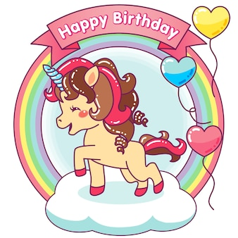 Cute unicorn happy birthday with balloons