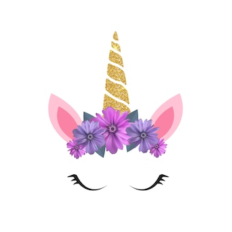 Cute unicorn head and eyes with flower.
