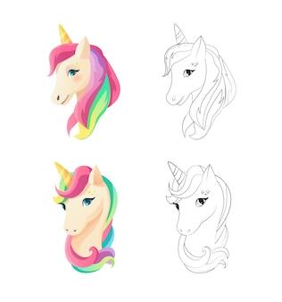 Cute unicorn head in flat style