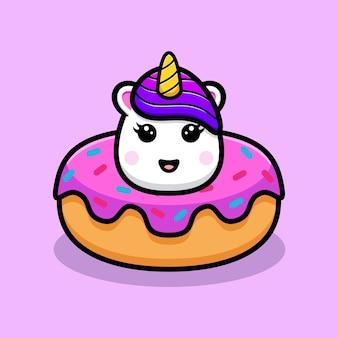 도넛 마스코트 디자인 안에 귀여운 유니콘 머리