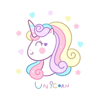 Cute unicorn head vector pastel color