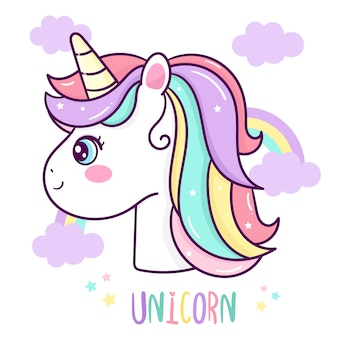 Cute unicorn head vector with rainbow cartoon
