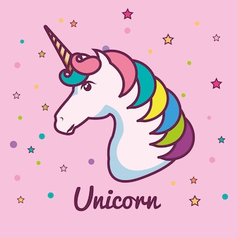 Cute unicorn head with colorful mane and horn