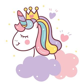 Cute unicorn heads vector on sky
