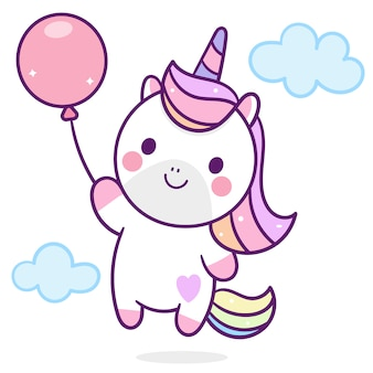 Cute unicorn holding balloon