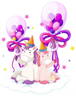 Cute unicorn holding birthday balloon