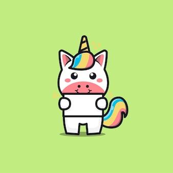 Cute unicorn holding blank text cartoon illustration