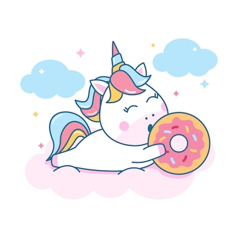 Cute unicorn holding donuts
