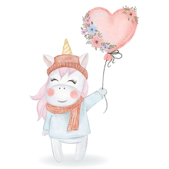 Cute unicorn holding a heart balloon with watercolor illustration flowers