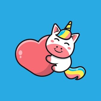 Cute unicorn holding heart cartoon icon illustration