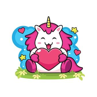 Cute unicorn holding heart cartoon
