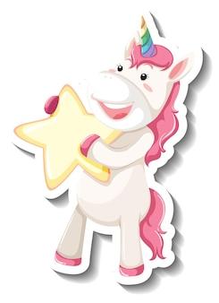 Cute unicorn holding star on white background
