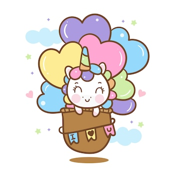 Cute unicorn  on hot air balloon