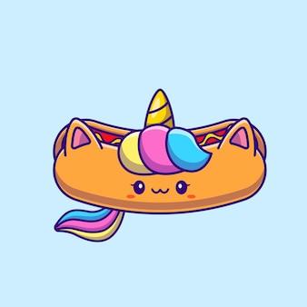 かわいいユニコーンホットドッグ漫画イラスト。分離された動物性食品の概念。フラット漫画