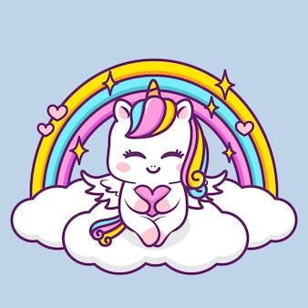 구름에 마음을 껴안고 귀여운 유니콘
