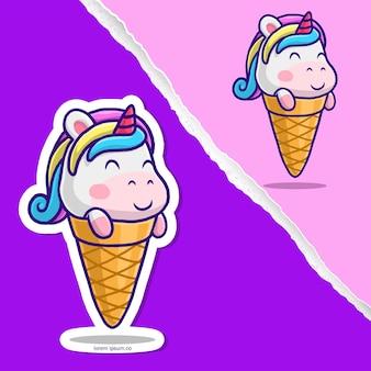 귀여운 유니콘 아이스크림 만화, 스티커 캐릭터 디자인.