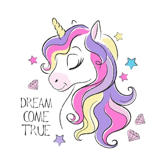 Cute unicorn illustration and quote