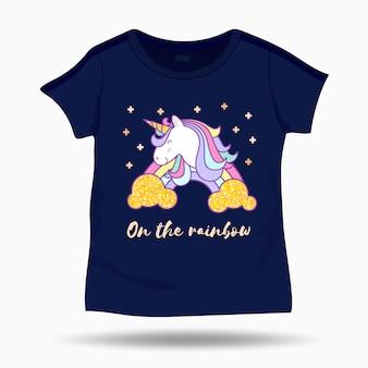 Cute unicorn illustration on t shirt kids template