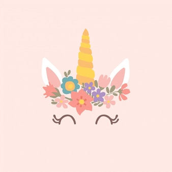 Cute unicorn illustration with flowers