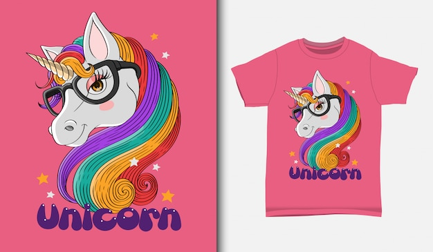 Cute unicorn illustration with t-shirt design, hand drawn