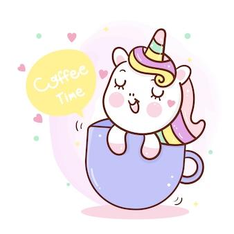 컵에 귀여운 유니콘입니다. 커피 타임 일러스트