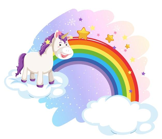 虹とパステルカラーの空にかわいいユニコーン