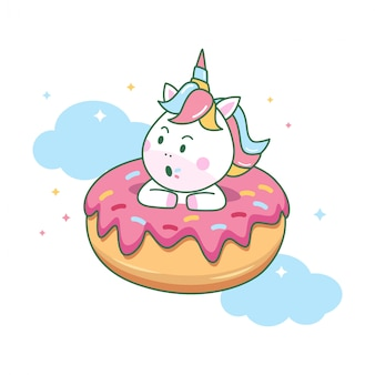 Cute unicorn inside the donuts
