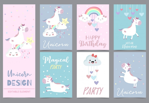 Cute unicorn invitation for kid