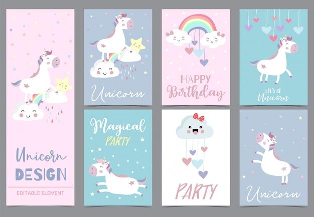 Cute unicorn invitation for kid