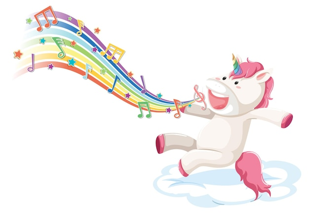 Cute unicorn jumping on the cloud with melody symbols on rainbow