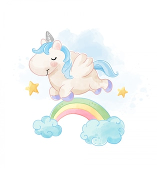Cute unicorn jumping over the rainbow illustration