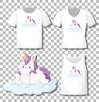 かわいいユニコーンは、透明な背景に分離されたさまざまなシャツのセットで雲の漫画のキャラクターの上に横たわっていた