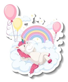 Adesivo cartone animato unicorno carino sdraiato sulla nuvola