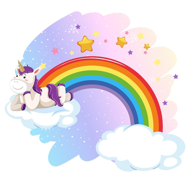 Cute unicorn laying on cloud in the pastel sky with rainbow