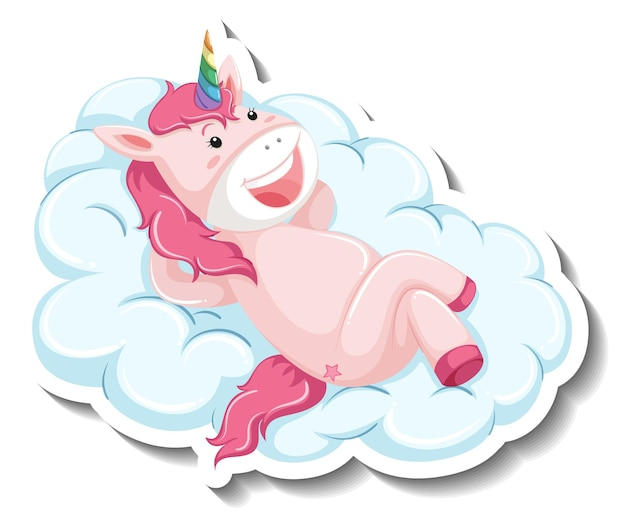 Cute unicorn laying on the cloud on white background