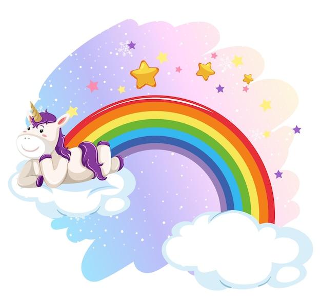 虹とパステルカラーの空に雲の上に横たわるかわいいユニコーン