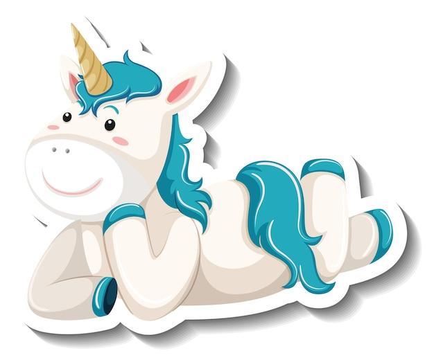 Simpatico unicorno in posa posa adesivo personaggio dei cartoni animati