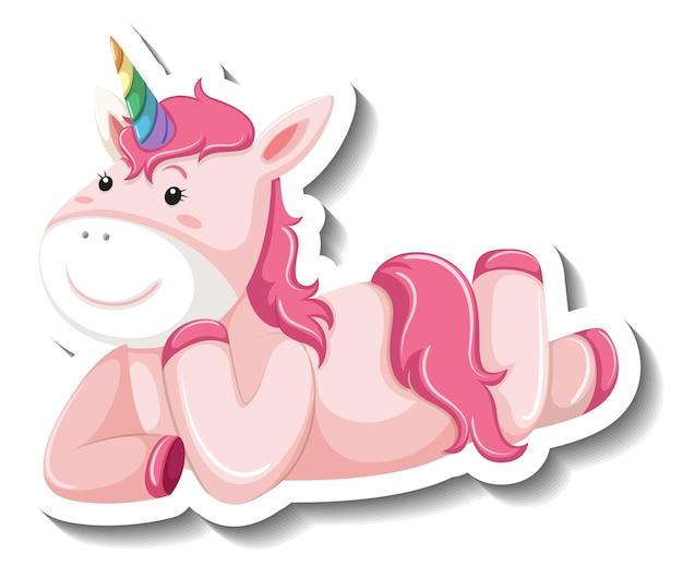 Unicorno carino posa posa su sfondo bianco