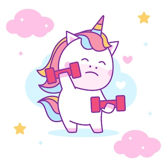 Cute unicorn lifting barbels