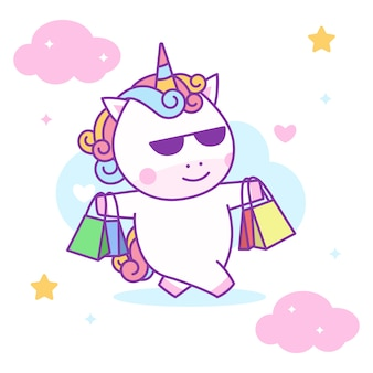 Cute unicorn lifting shopping bags