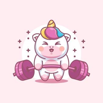 Cute unicorn lifting weights cartoon