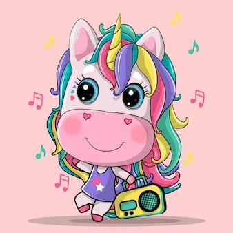 Cute unicorn listening music cartoon hand drawn illustration